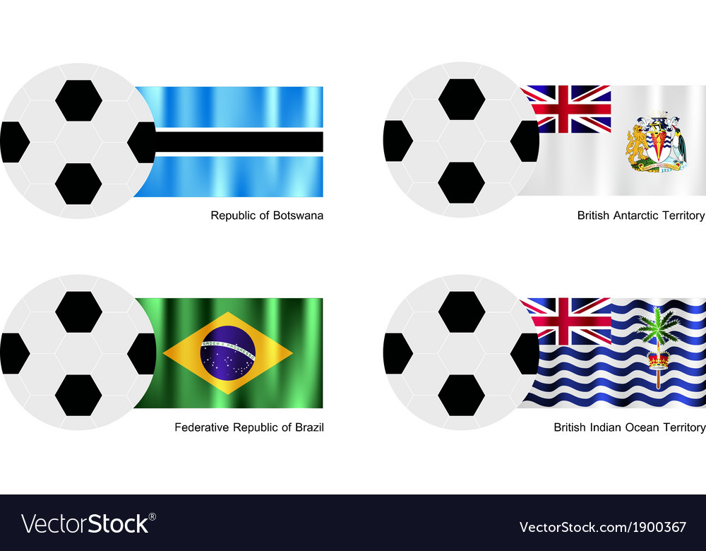 Football with botswana antarctica brazil flag vector | Price: 1 Credit (USD $1)