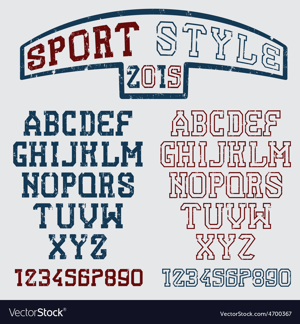 Grunge serif font in the retro style of sport vector   Price: 1 Credit (USD $1)
