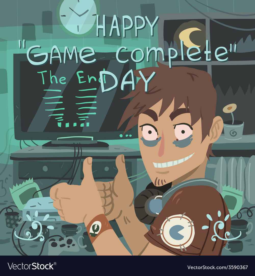Happy game complete day greeting card vector | Price: 1 Credit (USD $1)