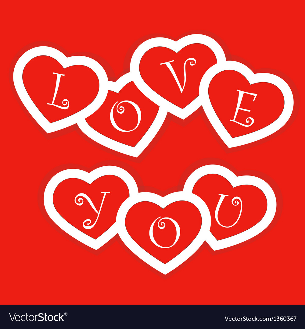 Red card with paper hearts for valentines day vector | Price: 1 Credit (USD $1)