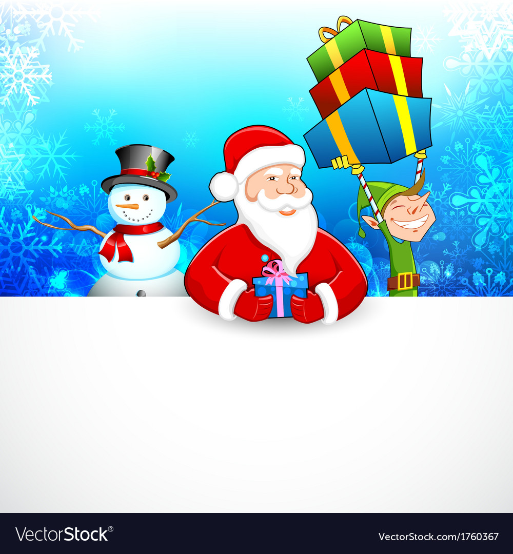 Santa claus and snowman wishing merry christmas vector | Price: 1 Credit (USD $1)