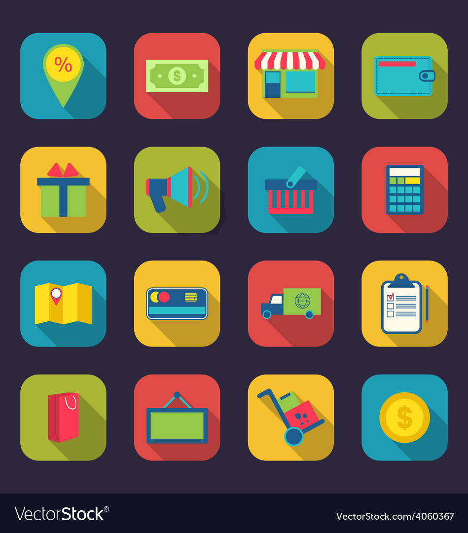 Set flat colorful icons of e-commerce shopping vector | Price: 1 Credit (USD $1)