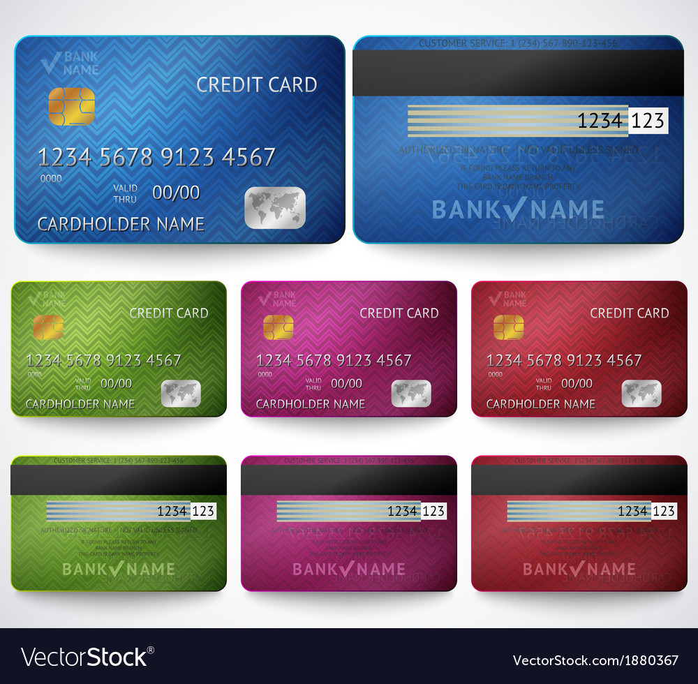 Set of realistic credit card two sides isolated vector | Price: 1 Credit (USD $1)