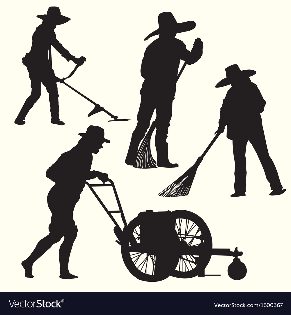 Silhouette of people gardening vector | Price: 1 Credit (USD $1)