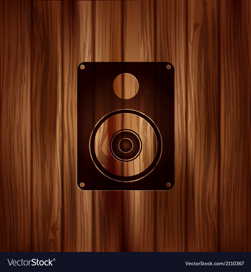 Subwoofer web icon wooden background vector | Price: 1 Credit (USD $1)