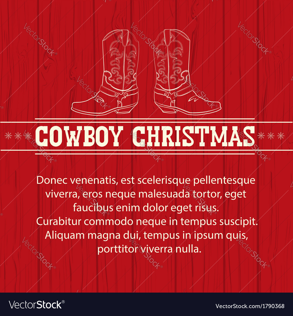 American red christmas background with cowboy vector | Price: 1 Credit (USD $1)