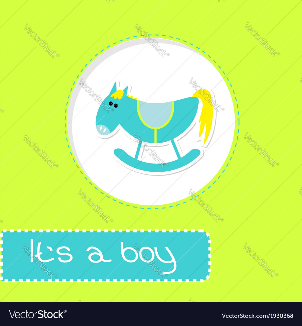 Baby boy shower card with cute horse vector | Price: 1 Credit (USD $1)