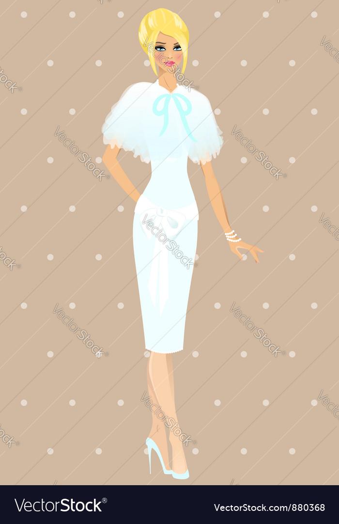 Beautiful girl in wedding dress vector | Price: 3 Credit (USD $3)