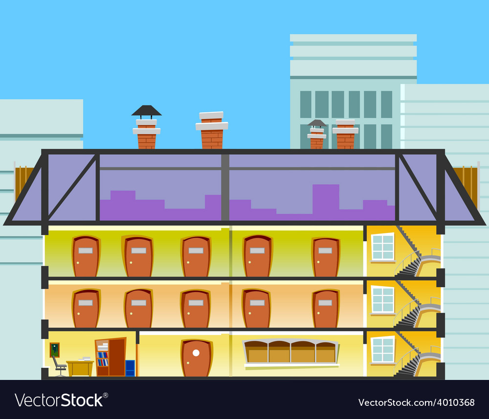 Cartoon office building in the cross section vector | Price: 3 Credit (USD $3)