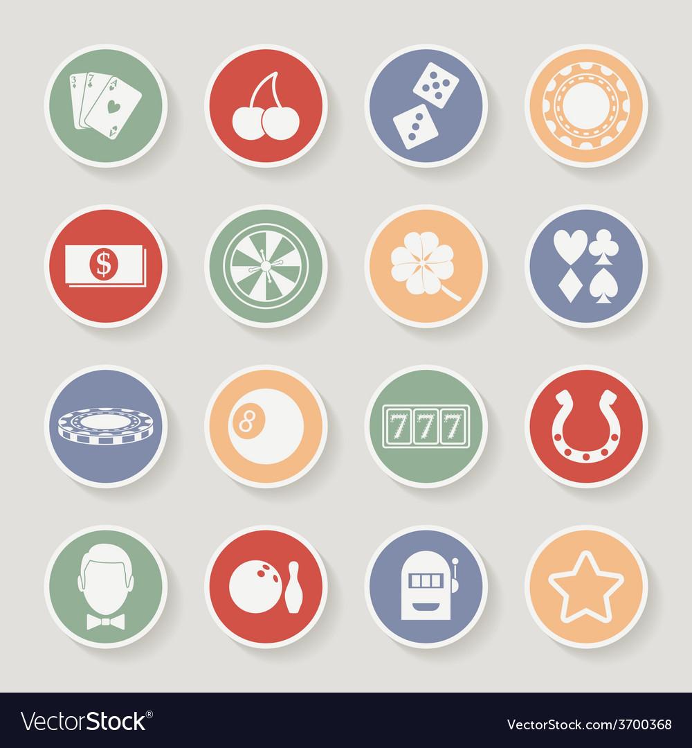 Casino round icons set vector   Price: 1 Credit (USD $1)