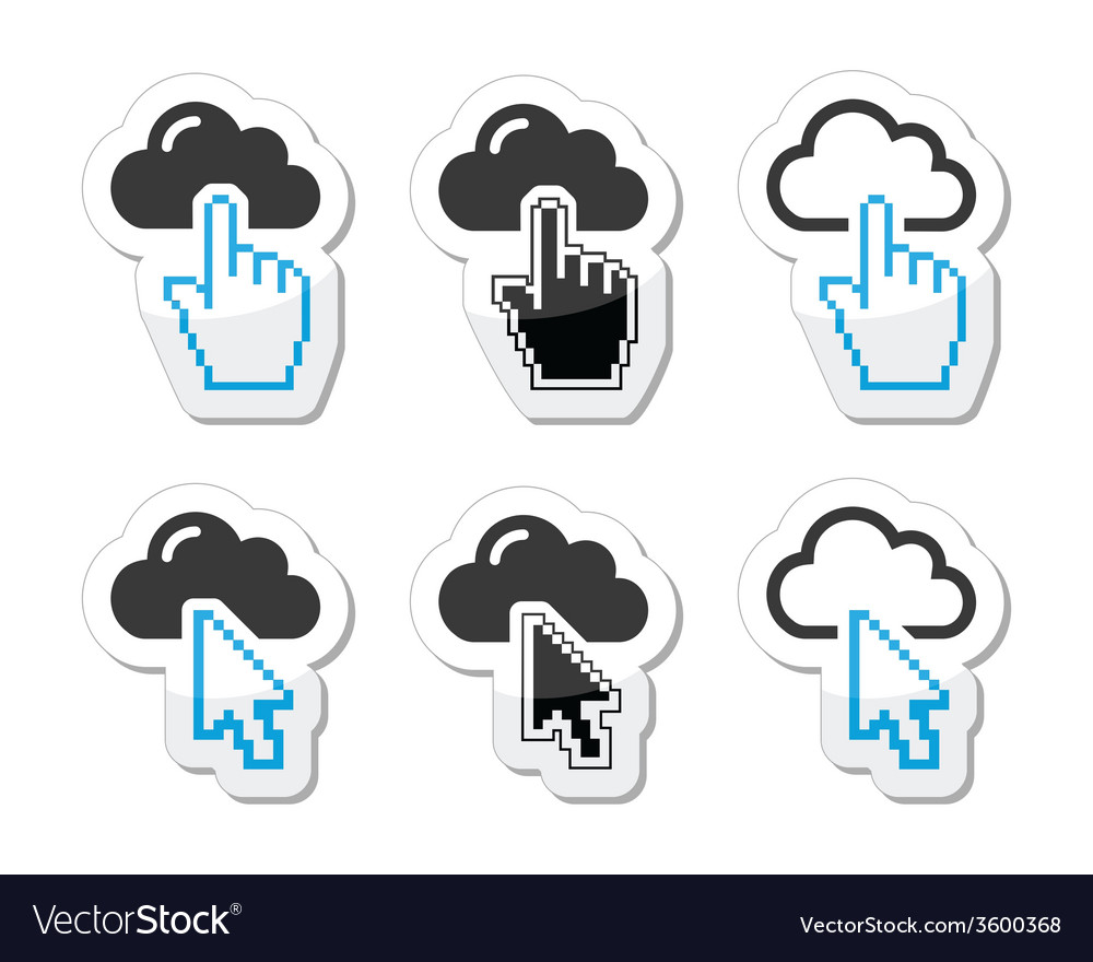 Cloud with cursor hand and arrow icons set vector | Price: 1 Credit (USD $1)