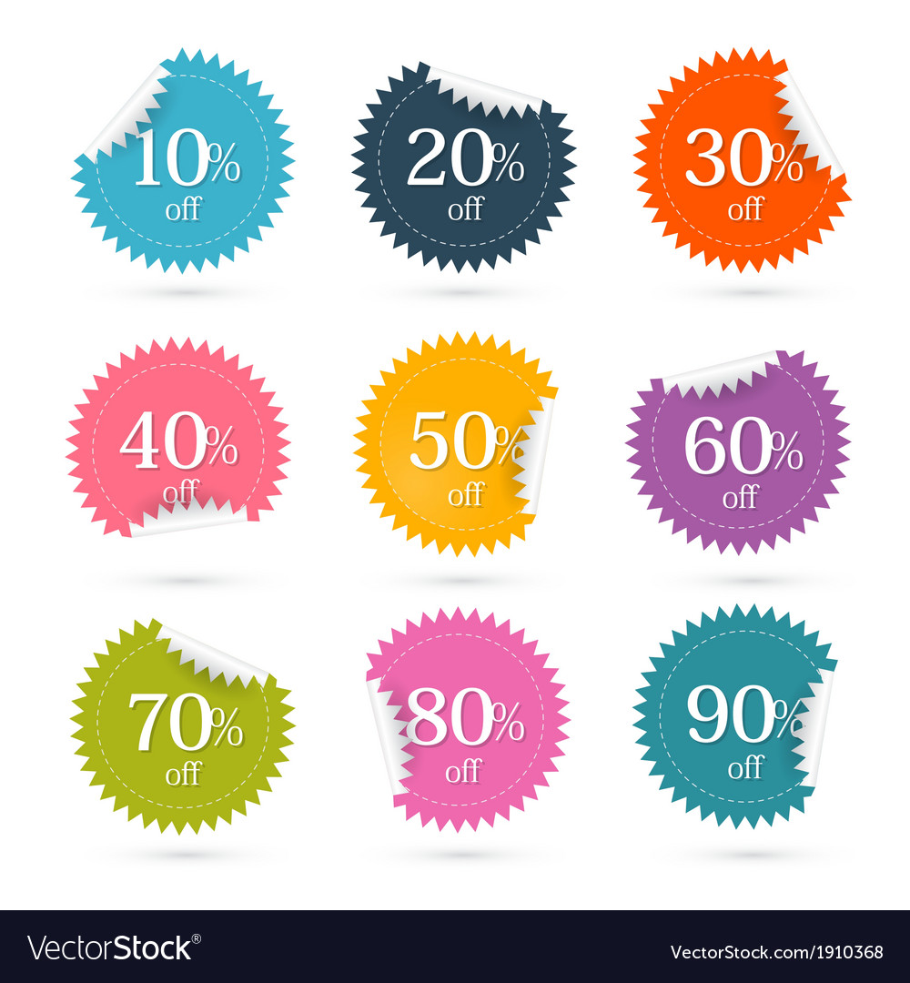 Colorful discount labels - stickers set vector | Price: 1 Credit (USD $1)