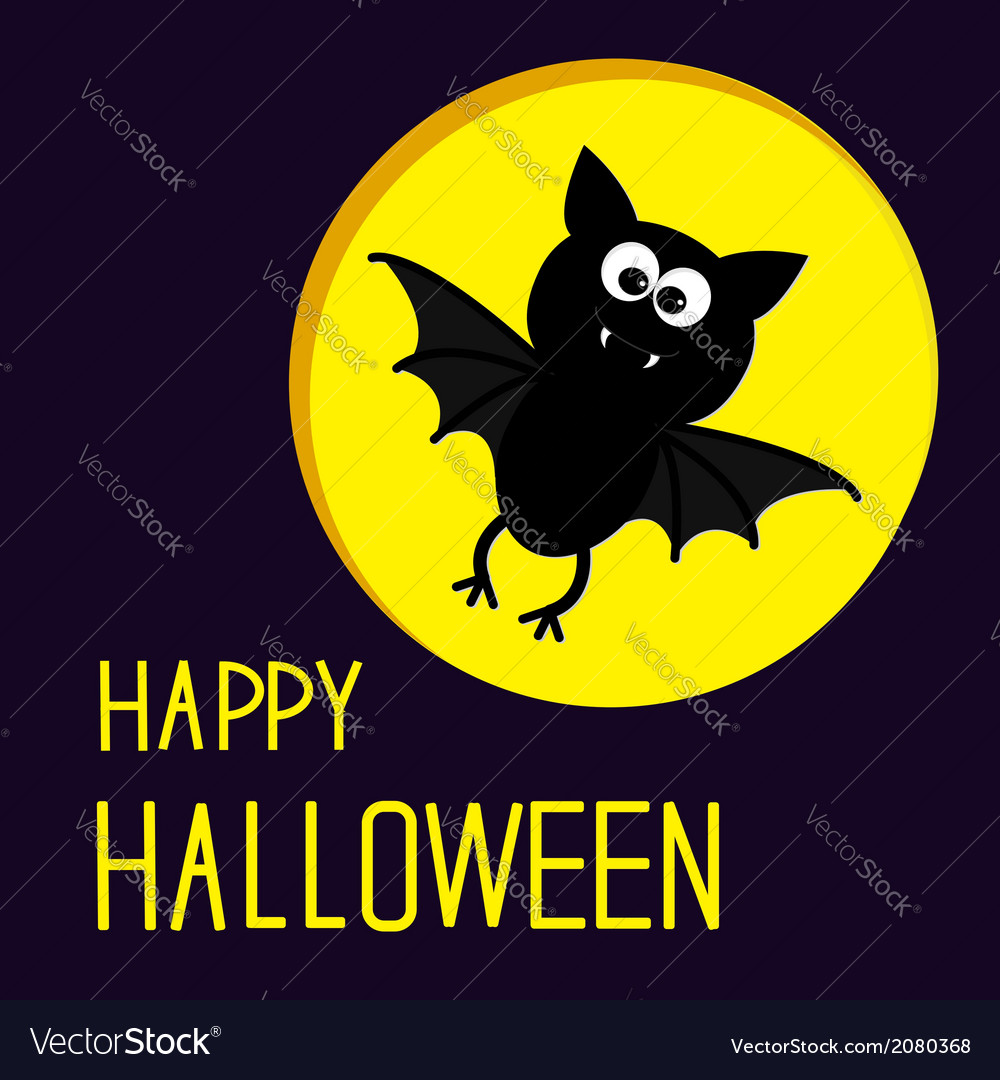 Cute bat and moon happy halloween card vector | Price: 1 Credit (USD $1)