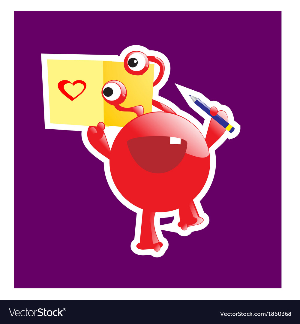 Cute monster in love vector | Price: 1 Credit (USD $1)