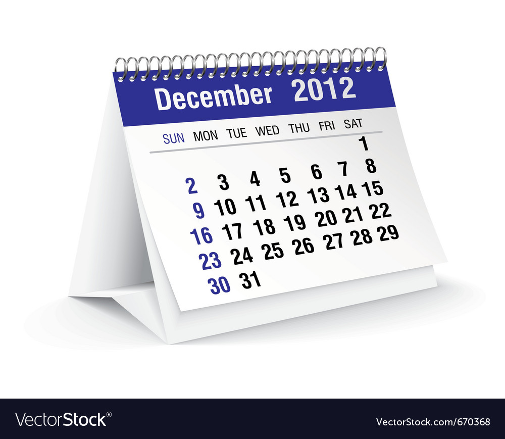 December calendar vector | Price: 1 Credit (USD $1)
