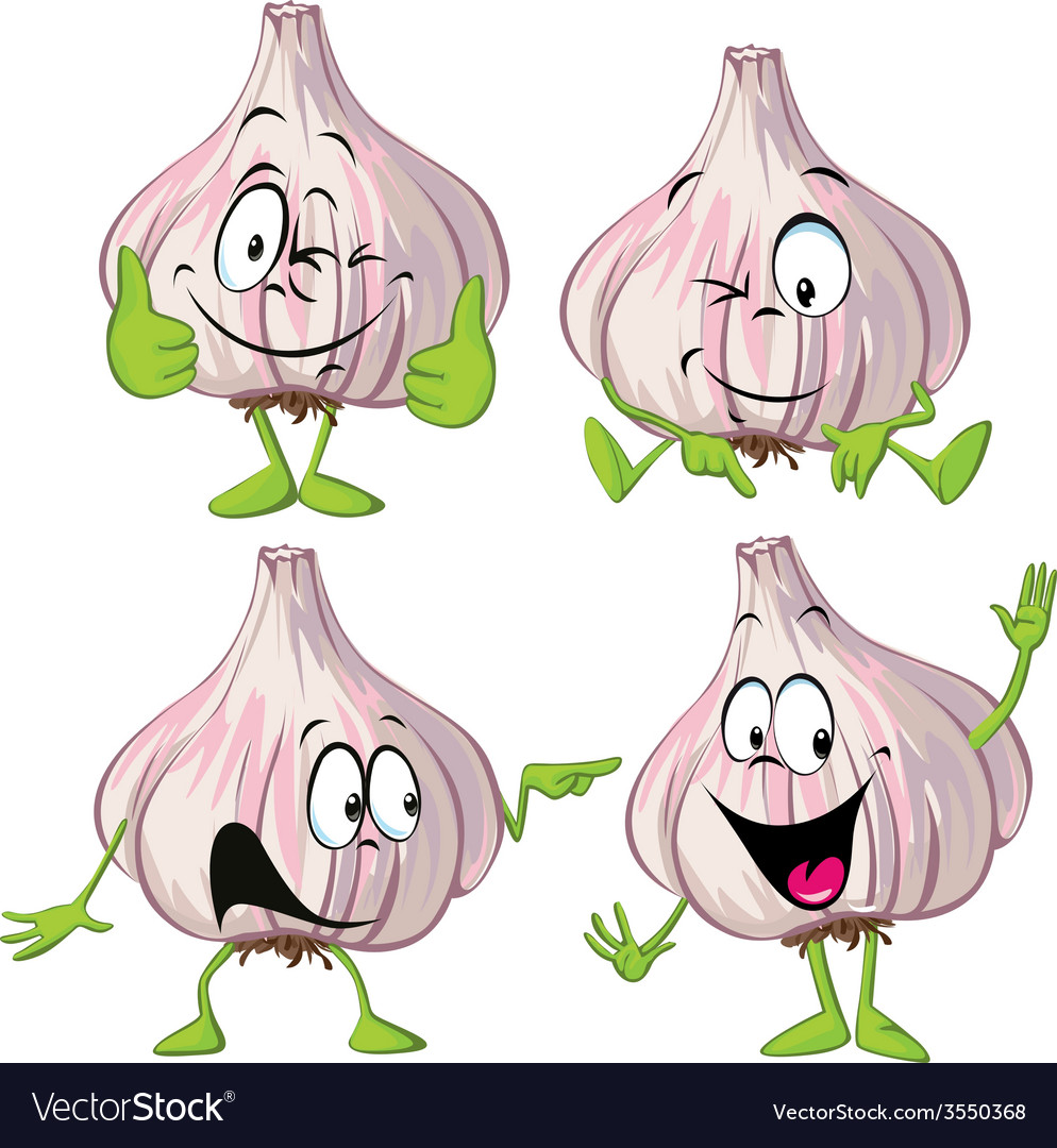 Garlic cartoon with hands and legs standing vector | Price: 1 Credit (USD $1)
