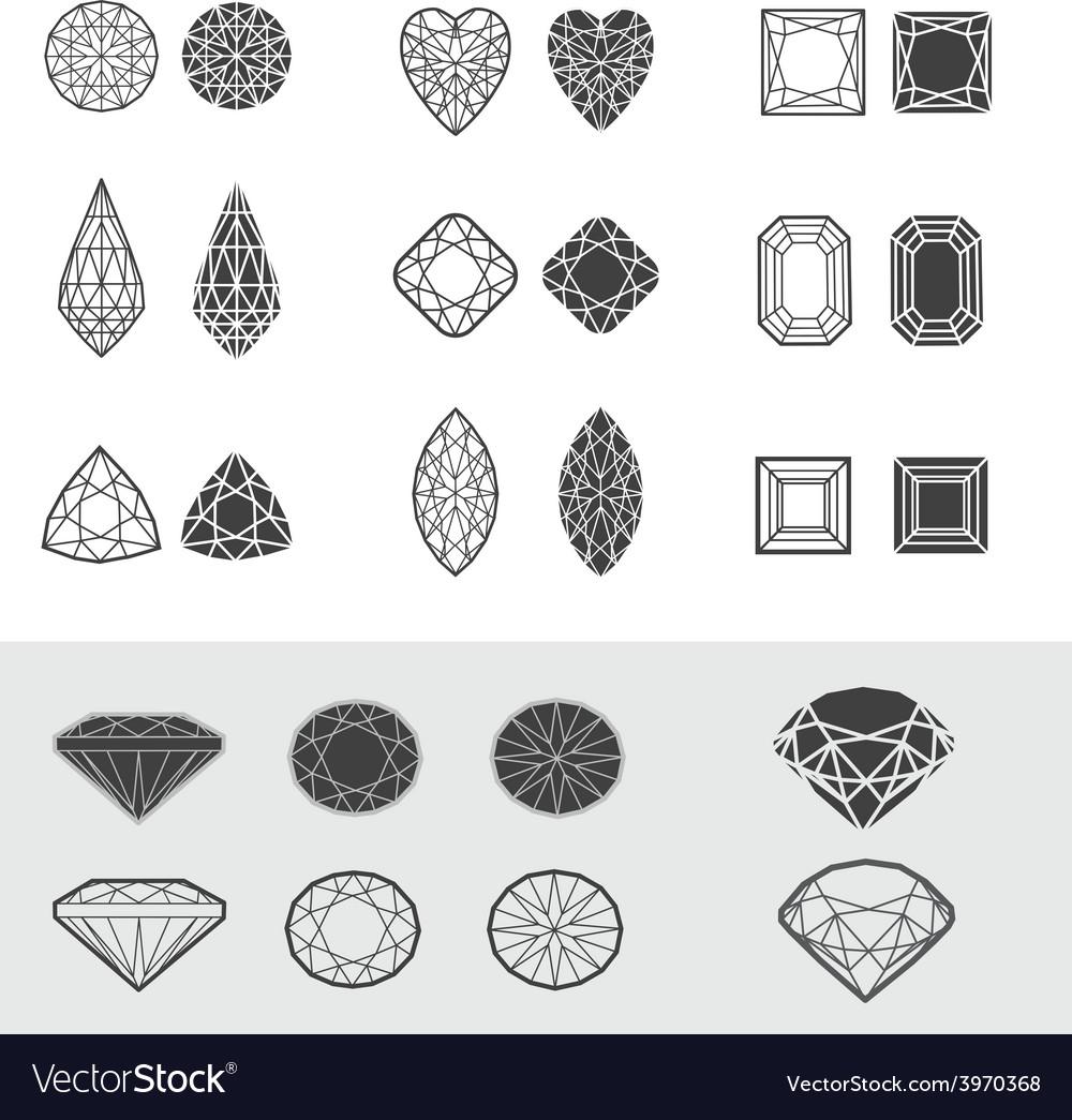 New diamonds set 01 vector | Price: 1 Credit (USD $1)