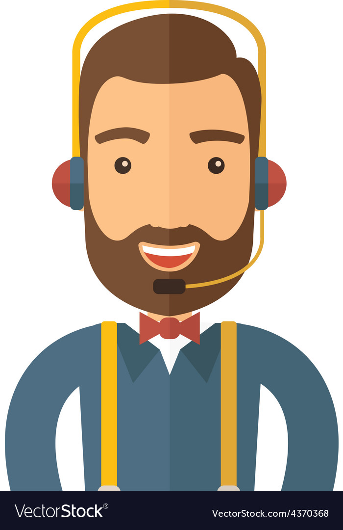 Operator man in headset vector | Price: 1 Credit (USD $1)