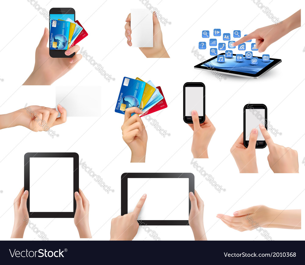 Set of hands holding different business objects vector | Price: 1 Credit (USD $1)