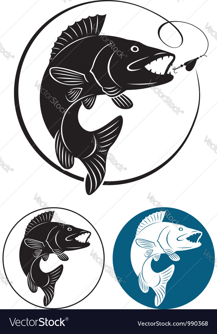 Trout fishing icon vector | Price: 1 Credit (USD $1)