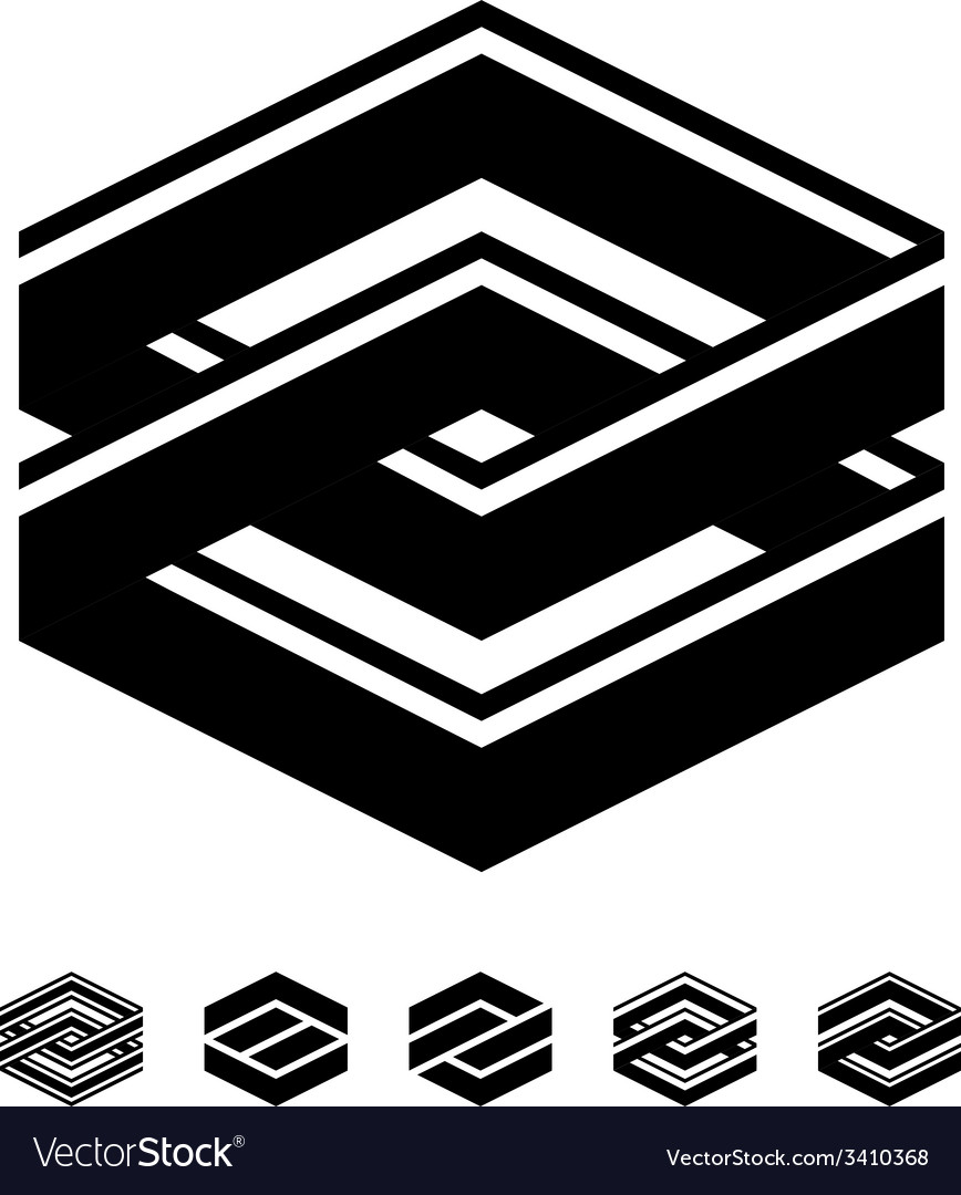 Unity square black white symbols vector | Price: 1 Credit (USD $1)