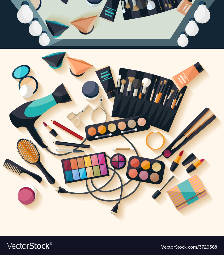 Workspace for makeup - flat design vector | Price: 1 Credit (USD $1)