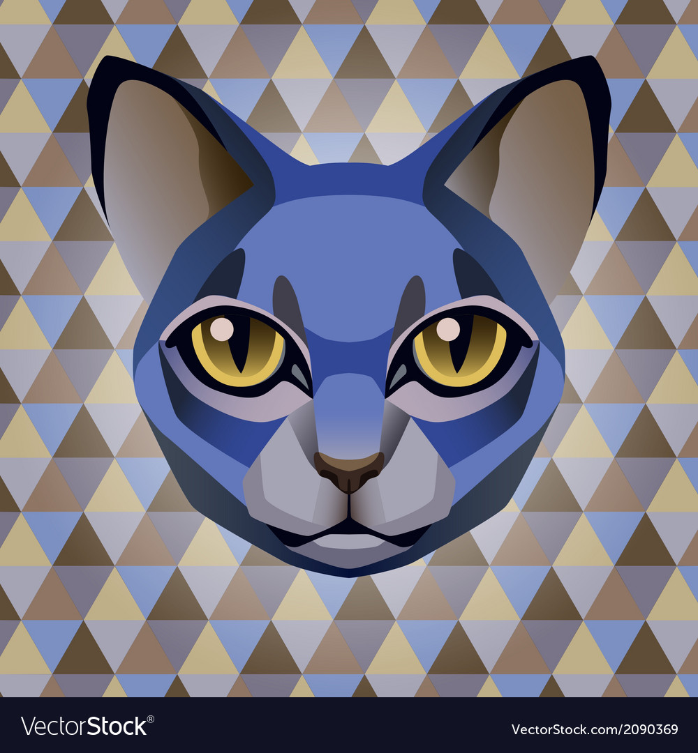 Abstract blue cat on a rhombus background vector | Price: 1 Credit (USD $1)