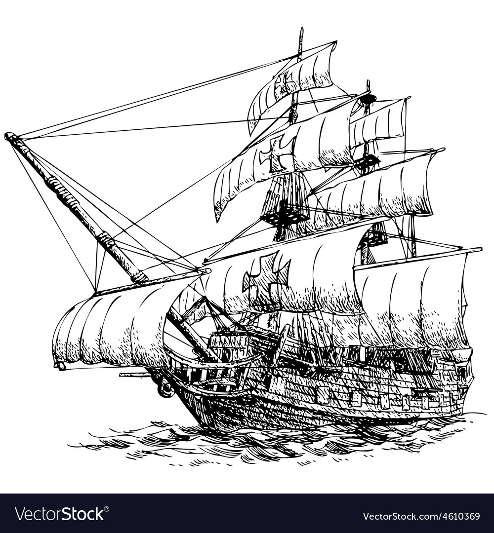 Columbus ship 05 vector | Price: 3 Credit (USD $3)