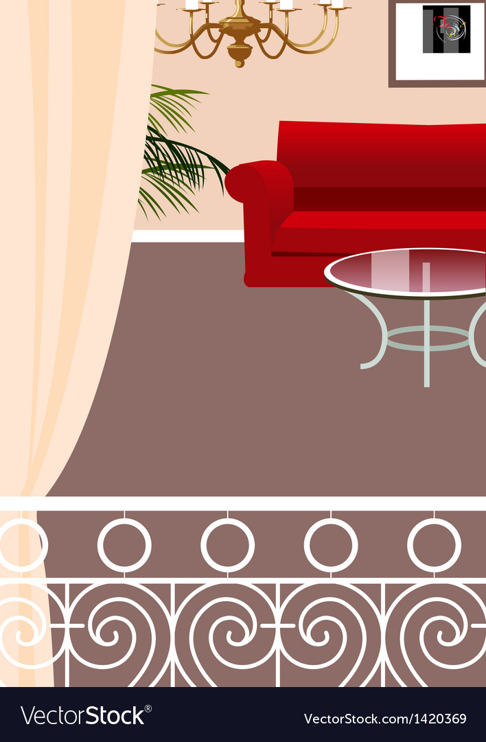 Elegant balcony lounge interior vector | Price: 1 Credit (USD $1)