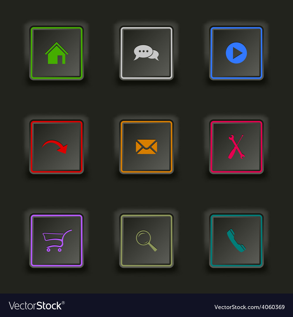 Flat color web buttons square on a dark background vector | Price: 1 Credit (USD $1)