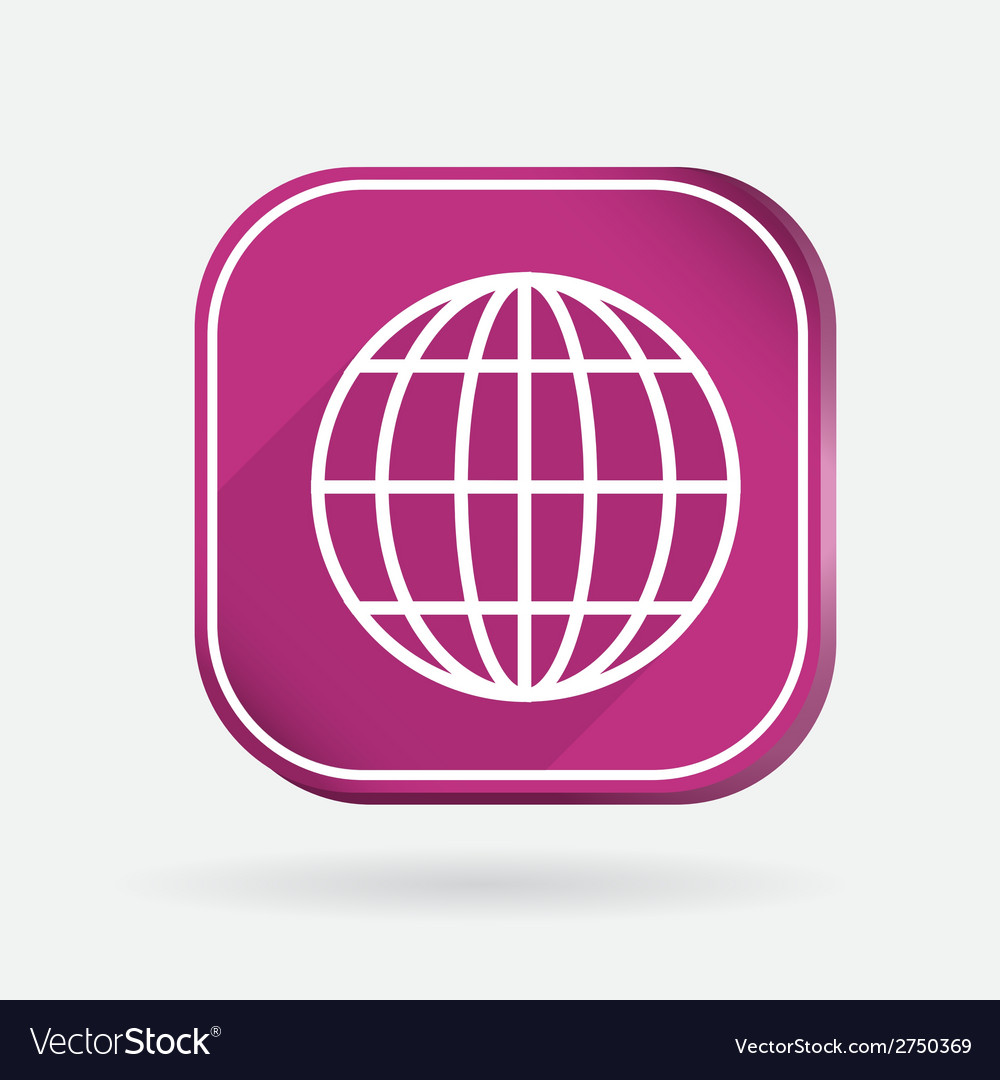 Globe symbol news color square icon vector | Price: 1 Credit (USD $1)