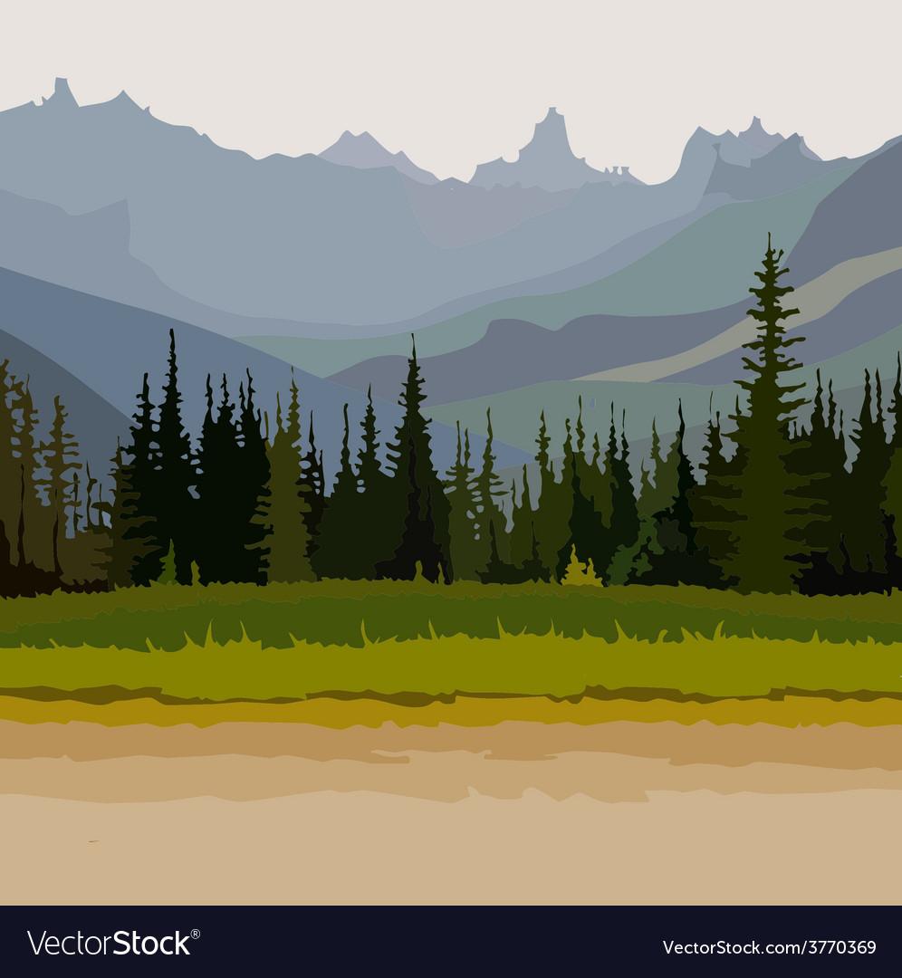 Landscape road coniferous forest mountains vector | Price: 3 Credit (USD $3)