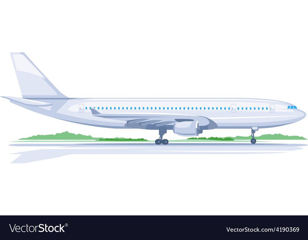 One airplane on ground vector | Price: 3 Credit (USD $3)
