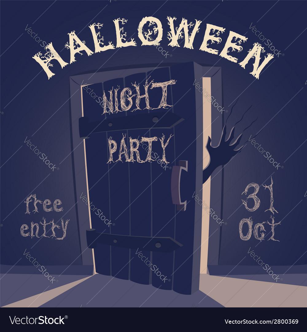 Open door on halloween night party vector | Price: 1 Credit (USD $1)