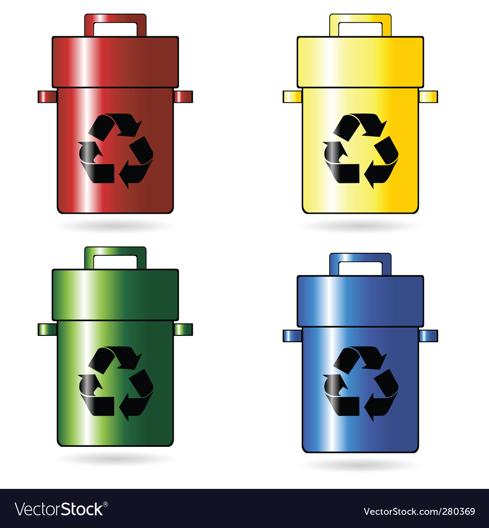 Recycling trash cans vector | Price: 1 Credit (USD $1)