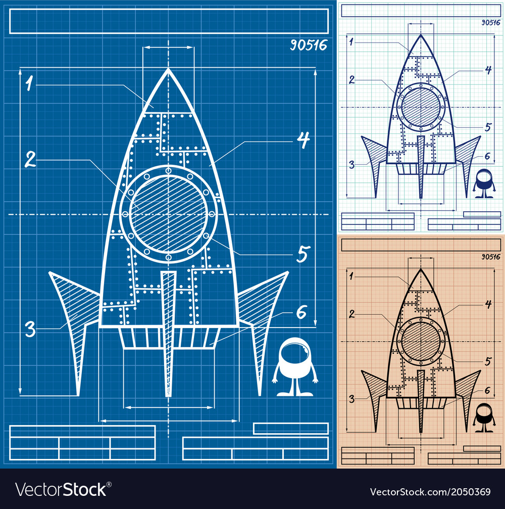 Rocket blueprint cartoon vector | Price: 1 Credit (USD $1)