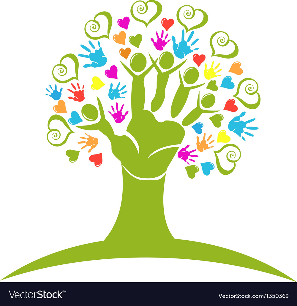 Tree hands hearts and figures logo vector | Price: 1 Credit (USD $1)