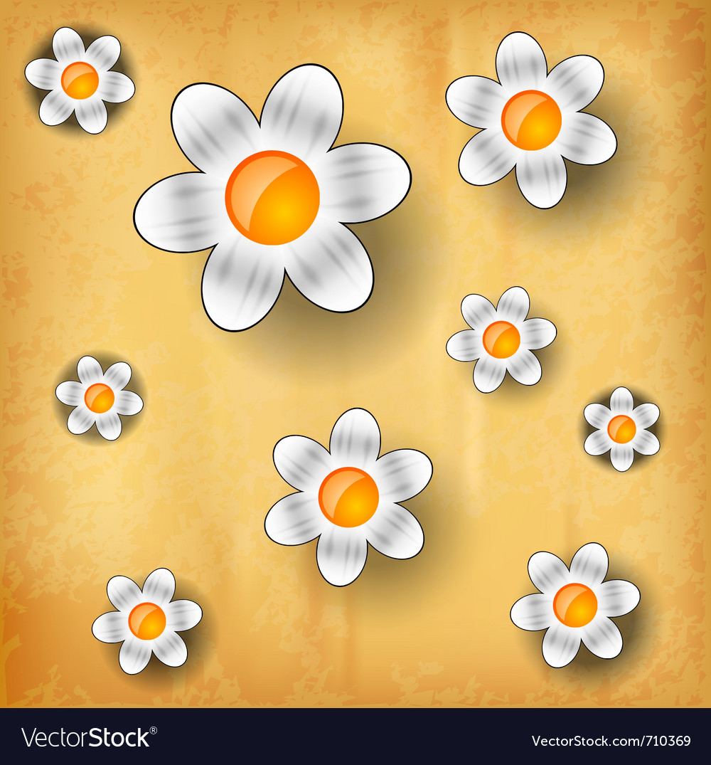 White flowers on the old paper vector | Price: 1 Credit (USD $1)