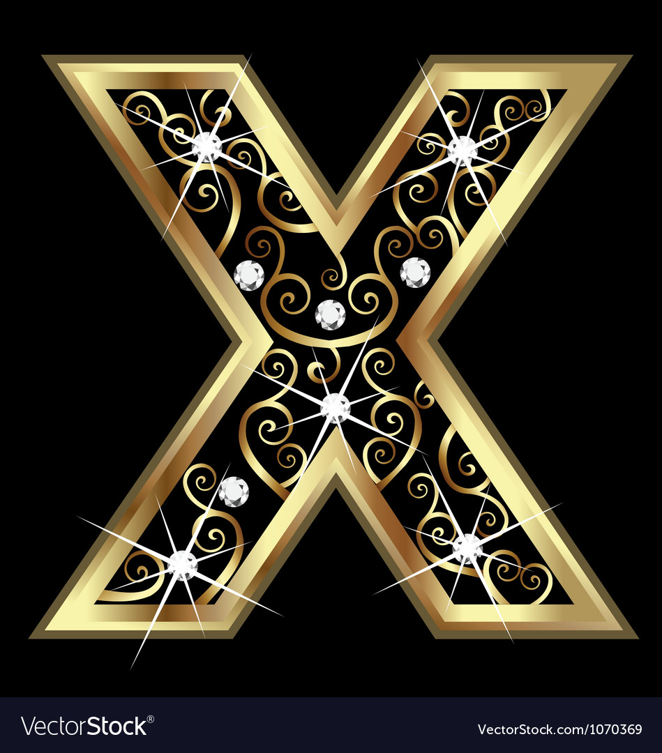 X gold letter with swirly ornaments vector | Price: 1 Credit (USD $1)