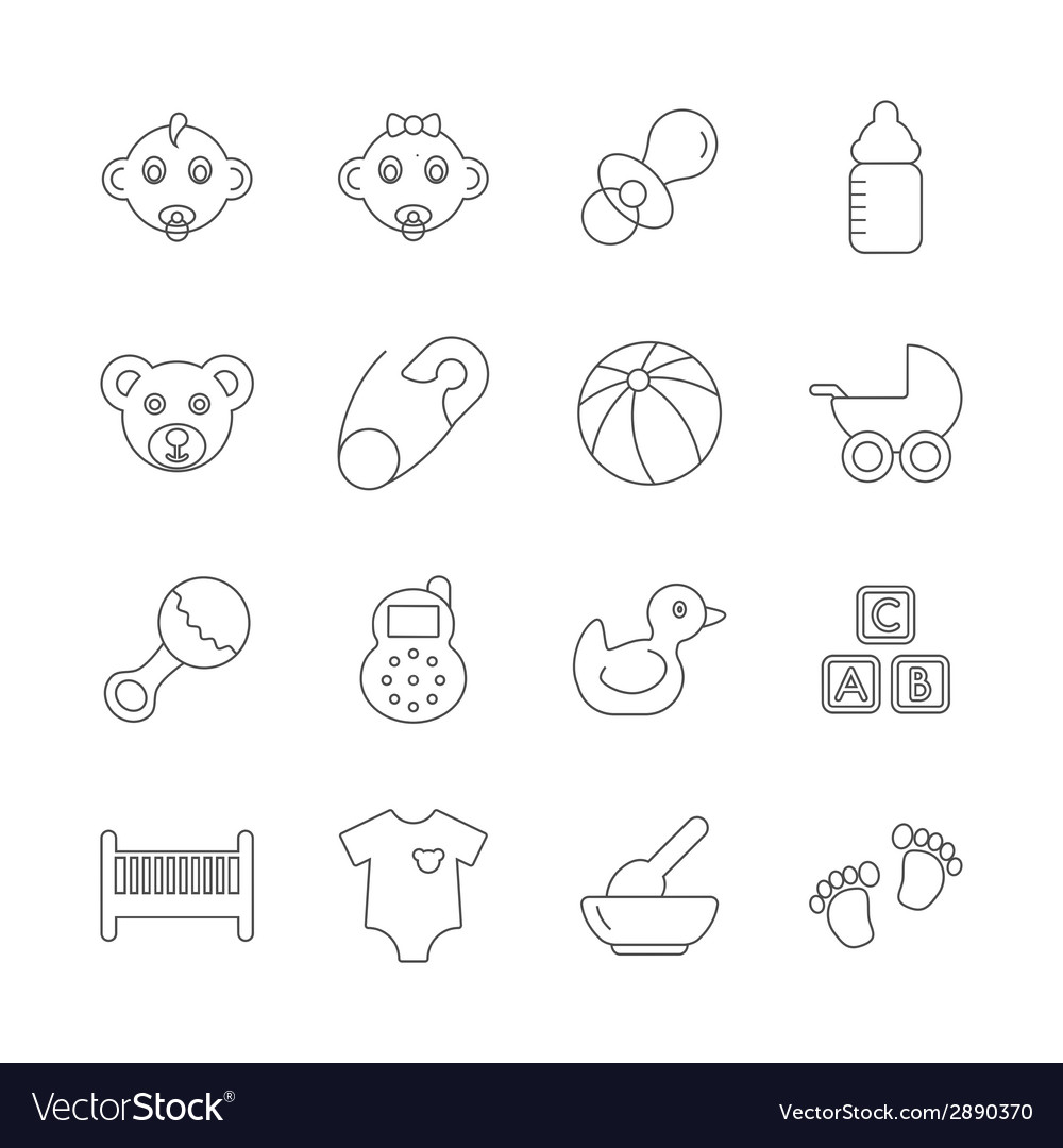 Baby line icons vector | Price: 1 Credit (USD $1)