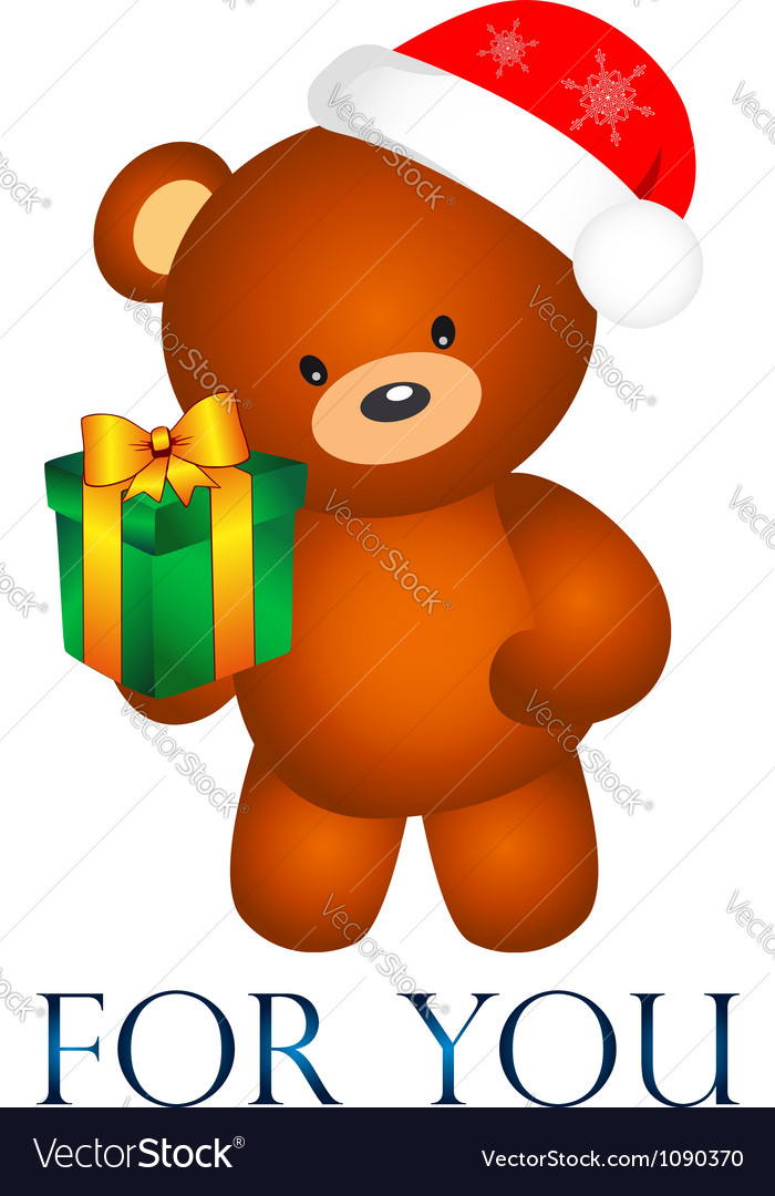 Bear with christmas present vector | Price: 1 Credit (USD $1)