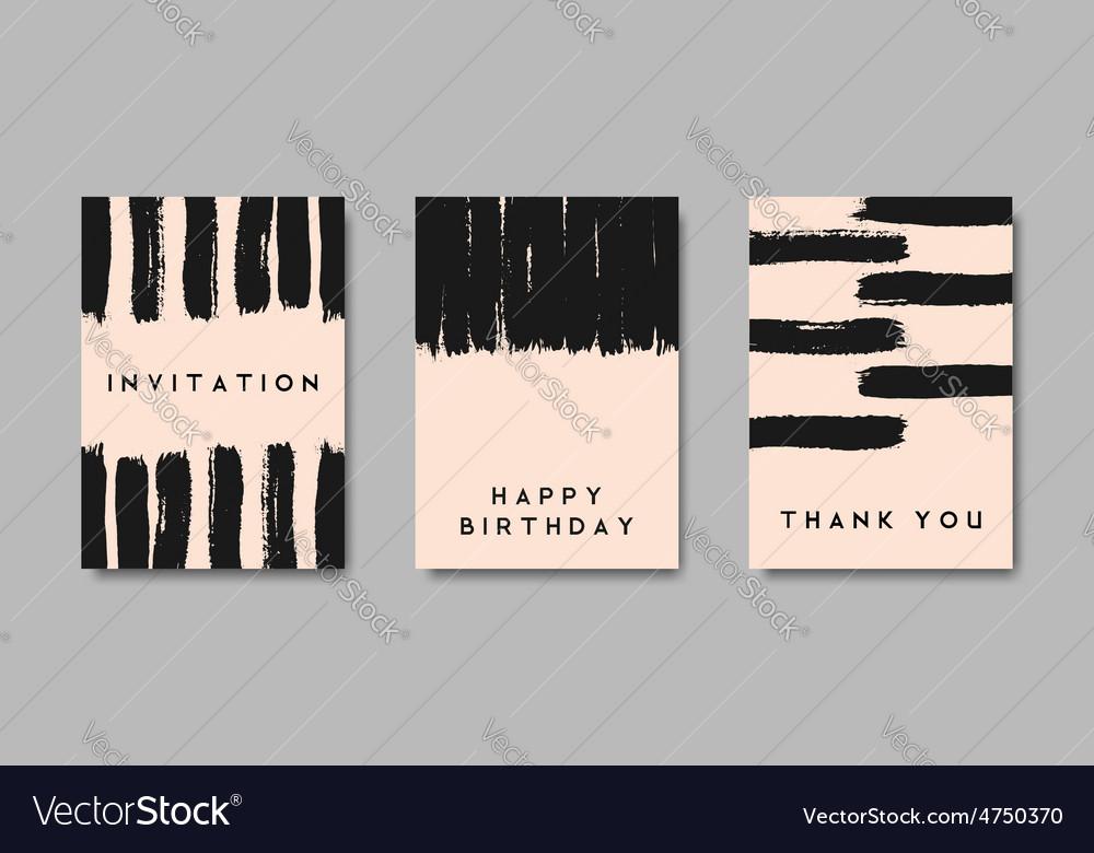 Black brush strokes pastel pink greeting cards set vector | Price: 1 Credit (USD $1)