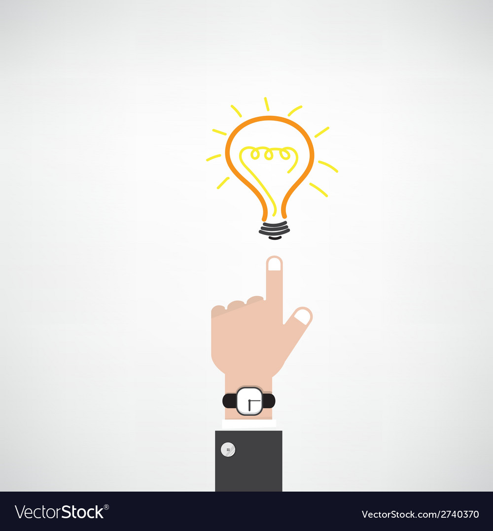 Businessman hand with doodle light bulb sign vector | Price: 1 Credit (USD $1)