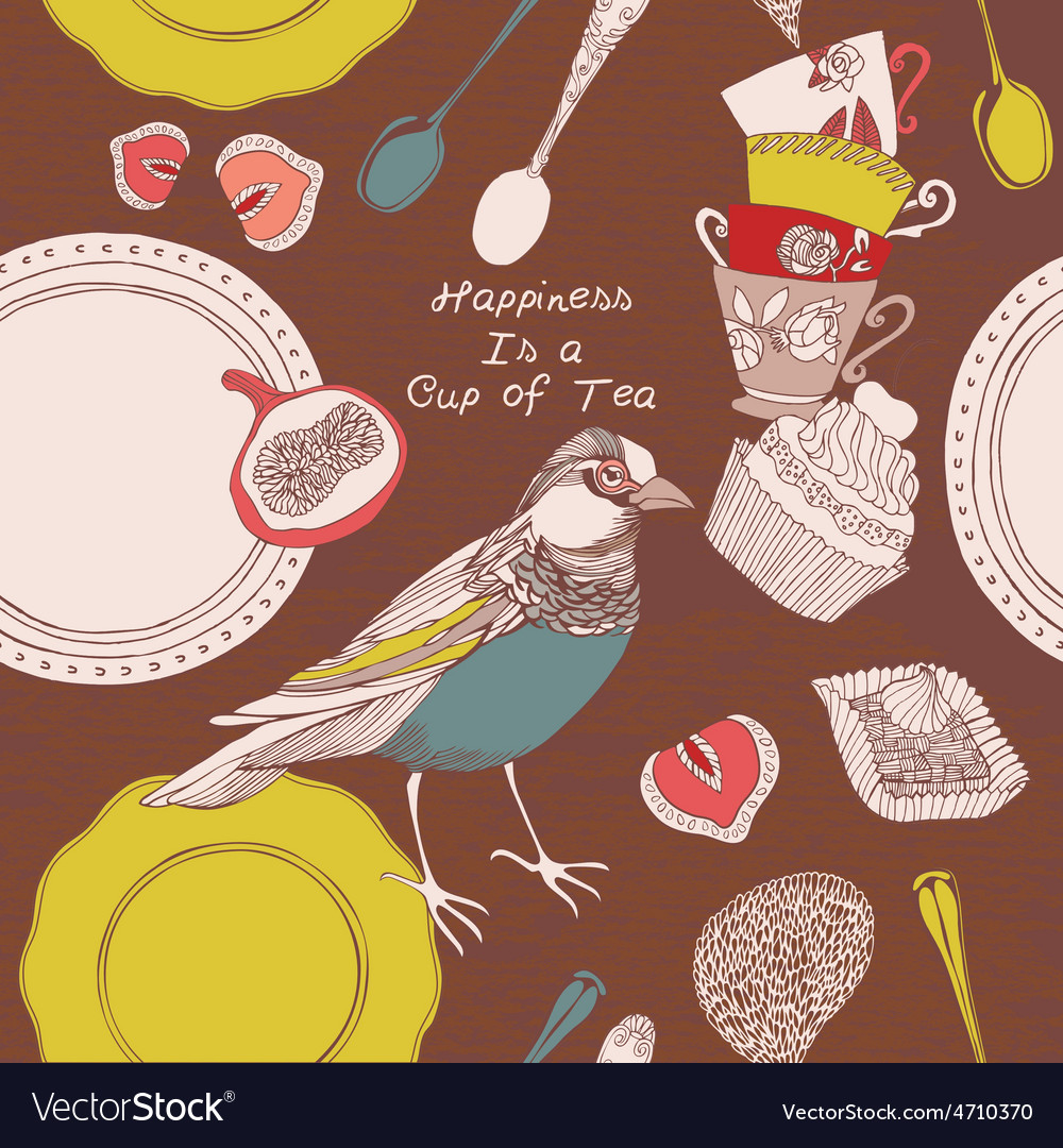 Card with cups bird and sweets vector