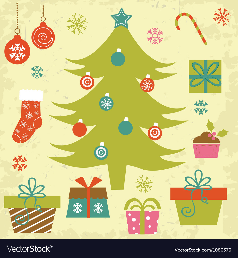 Christmas tree with gifts and ornaments vector | Price: 1 Credit (USD $1)