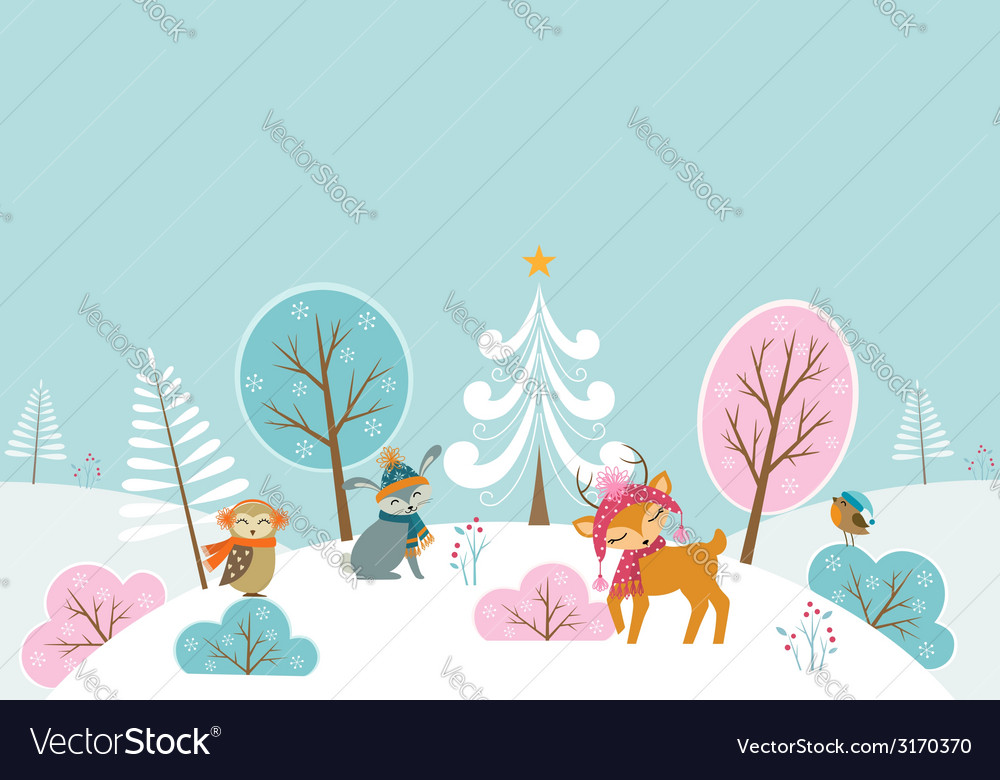 Christmas woodland landscape vector | Price: 1 Credit (USD $1)