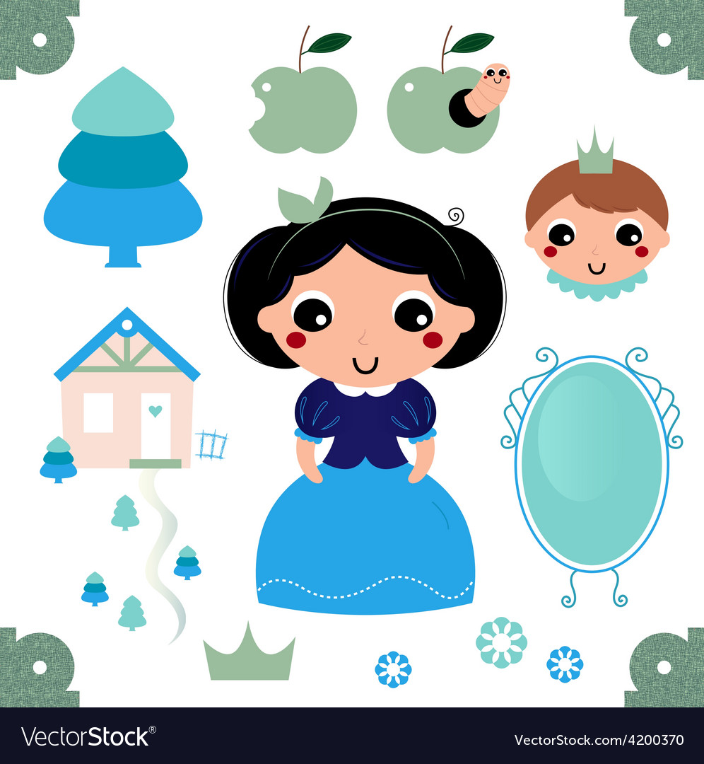 Cute beautiful snow white isolated on white vector | Price: 1 Credit (USD $1)