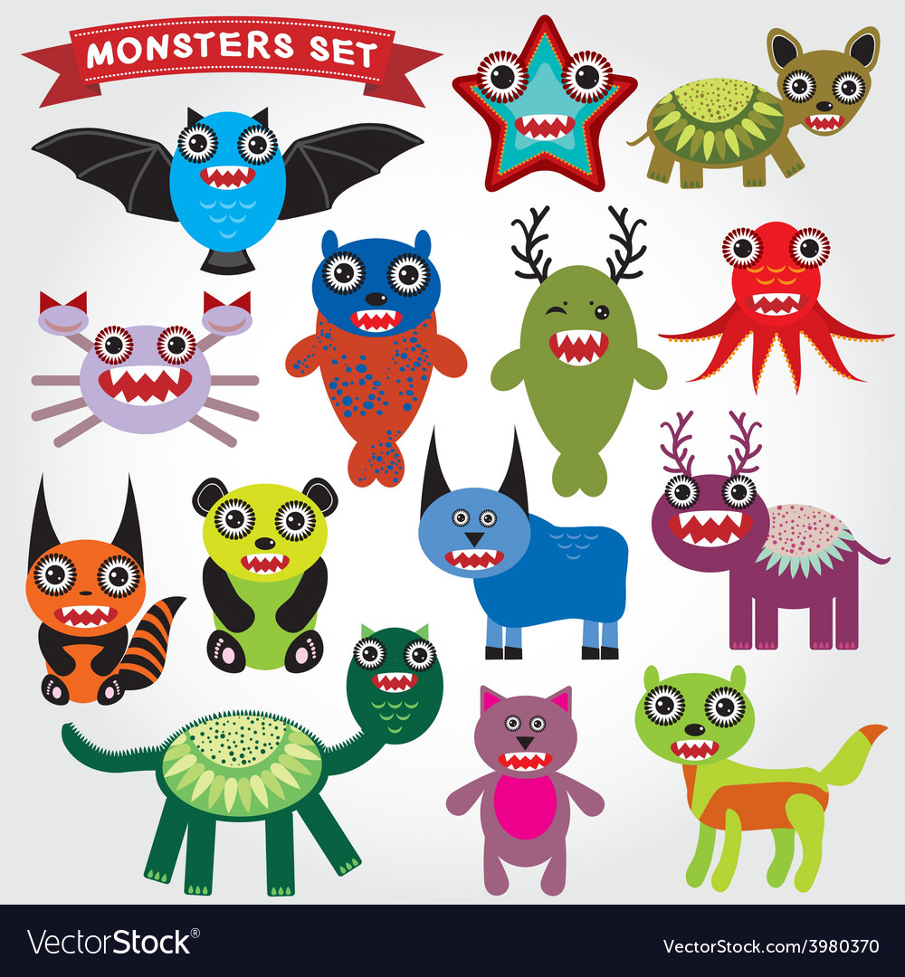 Cute cartoon monsters set big collection on a vector | Price: 1 Credit (USD $1)