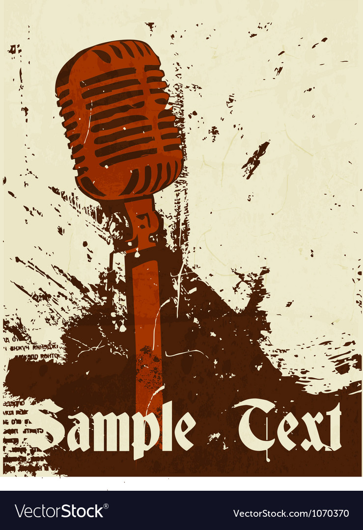 Grunge concert poster with microphone vector | Price: 1 Credit (USD $1)