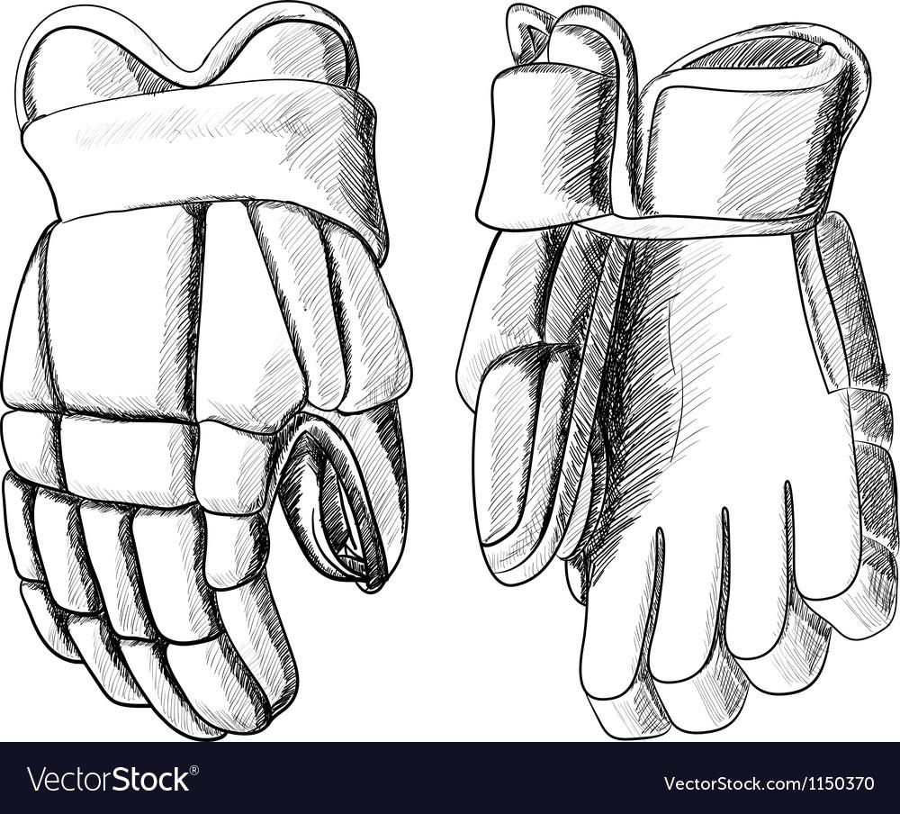 Hockey gloves vector